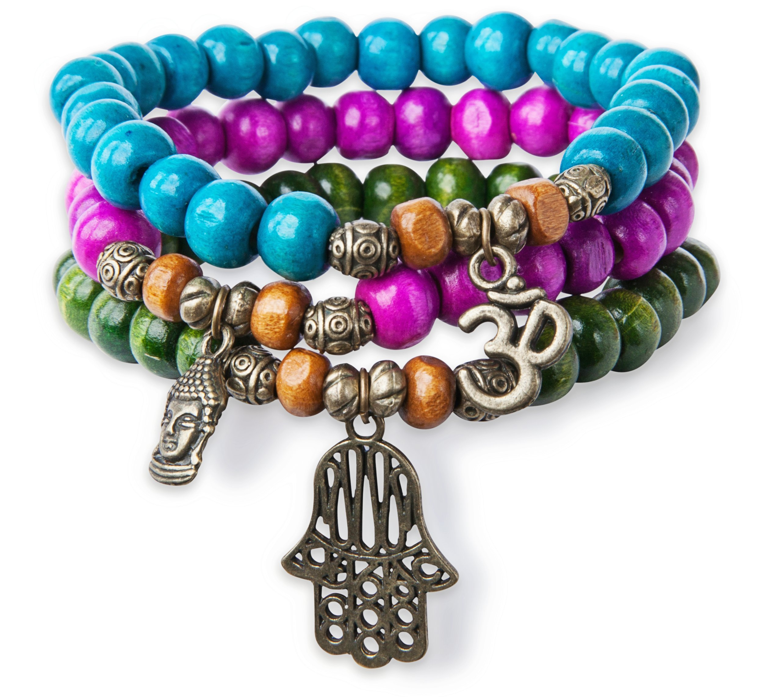 3 Stack Stretch Bracelets, Colorful Wood with Hamsa Buddha Om Charm Yoga - SPUNKYsoul Collection