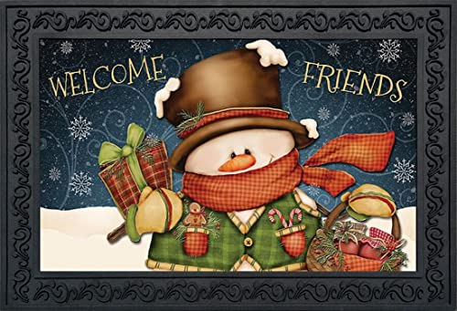 Briarwood Lane Welcome Friends Snowman Christmas Doormat Primitive Indoor Outdoor 18 x 30