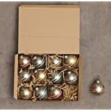 Creative Co-op XC5561 Set of 12 Mercury Glass Gold Tint Finish Assorted Ball Ornaments, Boxed