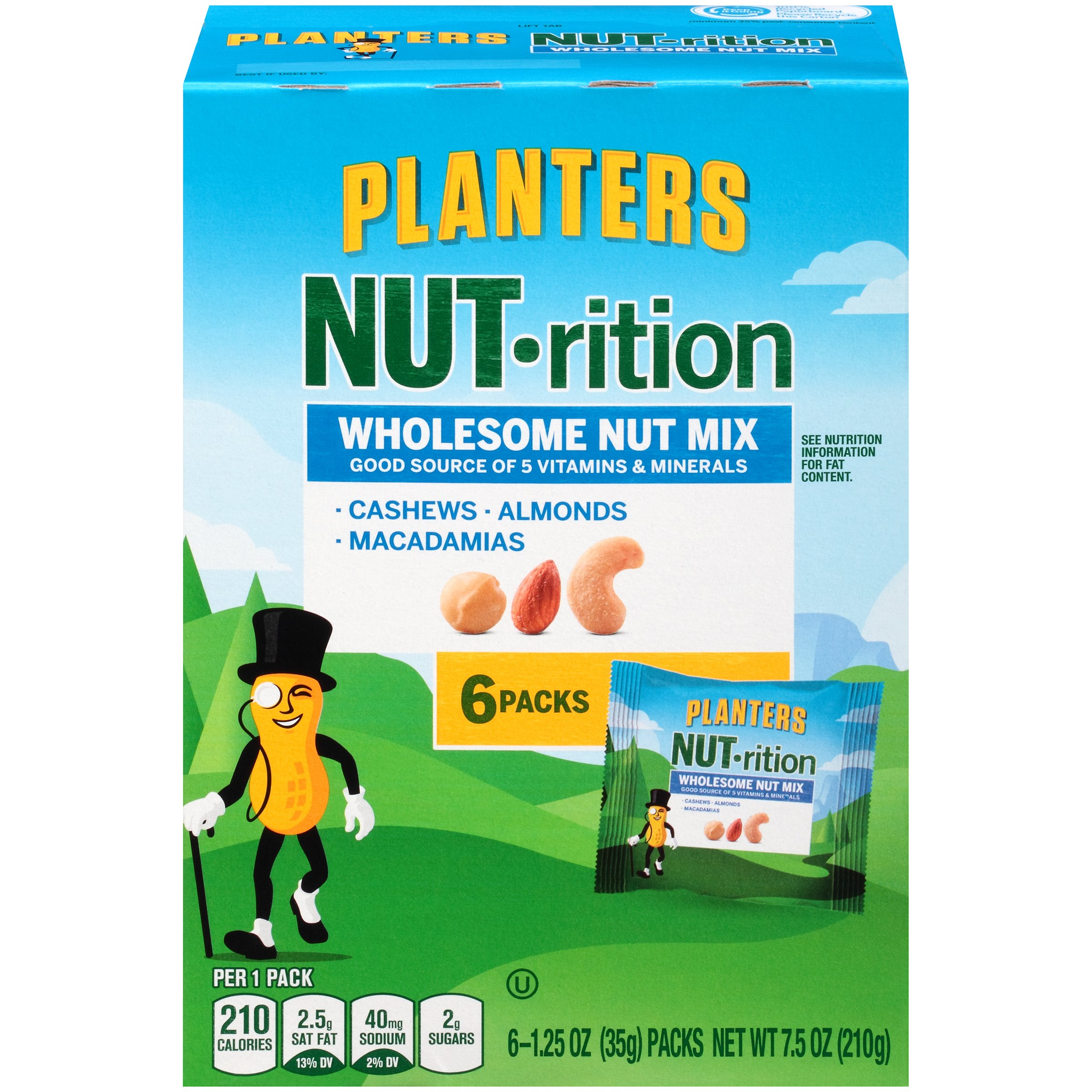 Planters Nutrition Wholesome Nut Mix Pack, 6 Pouches, 7.5 Ounce