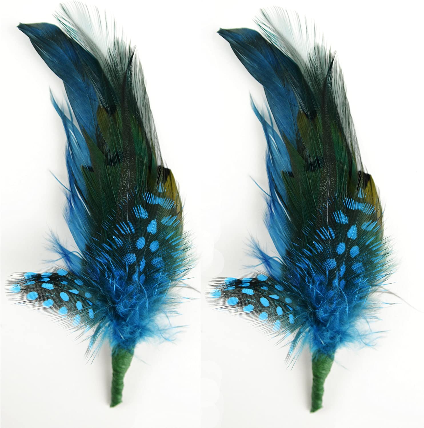Touch of Nature 2-Piece Feather Pick with Nylon Loop for Arts and Crafts, 6 to 7-Inch, Teal/Turquoise