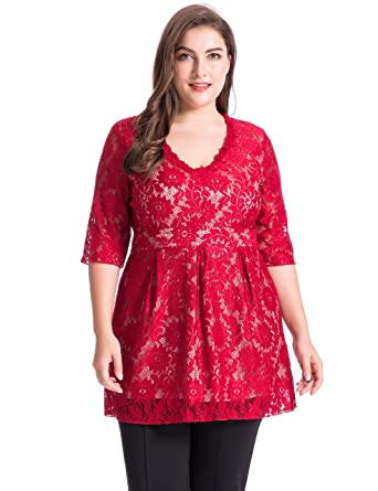 052a45e9fac Chicwe Women s Plus Size Lined V Neck Floral Lace Top Blouse - Casual and  Party Top