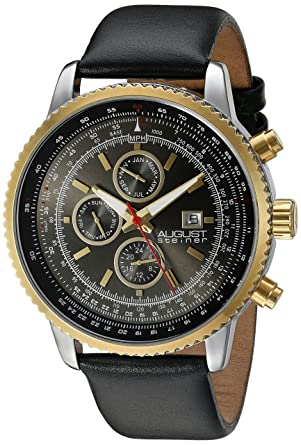August Steiner Mens AS8189YGB Gold Multifunction Quartz Watch with Black Dial and Black Leather Bracelet