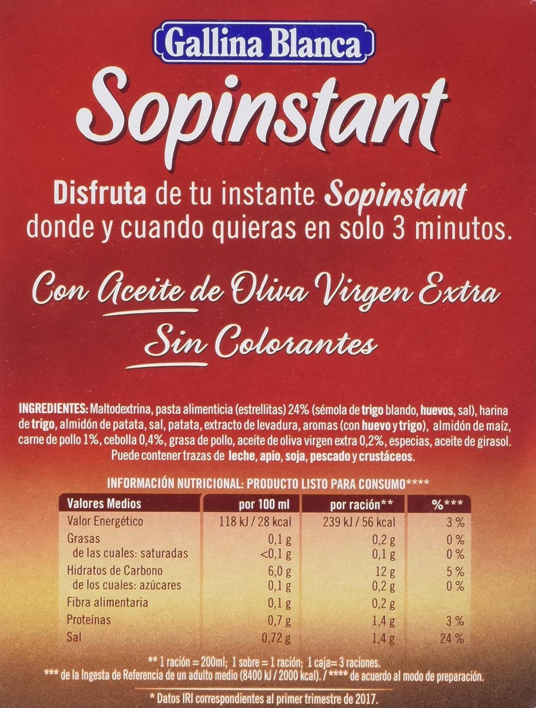 Gallina Blanca Sopinstant Sopa de Pollo con Pasta - Pack de 3 x 14 g - Total: 42 g: Amazon.es: Amazon Pantry