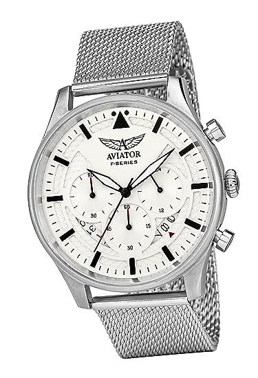 Aviator AVW1603G342 - Reloj cronógrafo para hombre, diseño vintage resistente al agua, correa de