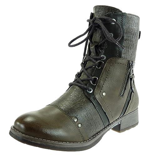 Angkorly - Zapatillas Moda Botines Botas Militares Cavalier Mujer Encaje Piel de Serpiente metálico Tacón Ancho 3 CM Forrada de Piel: Amazon.es: Zapatos y ...