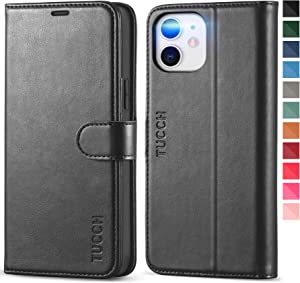 TUCCH Wallet Case for iPhone 12 Pro/iPhone 12 5G, RFID Blocking Card Slot Stand [Shockproof TPU Interior Case] PU Leather Magnetic Protect Flip Cover Compatible with iPhone 12/12 Pro 6.1-inch, Black
