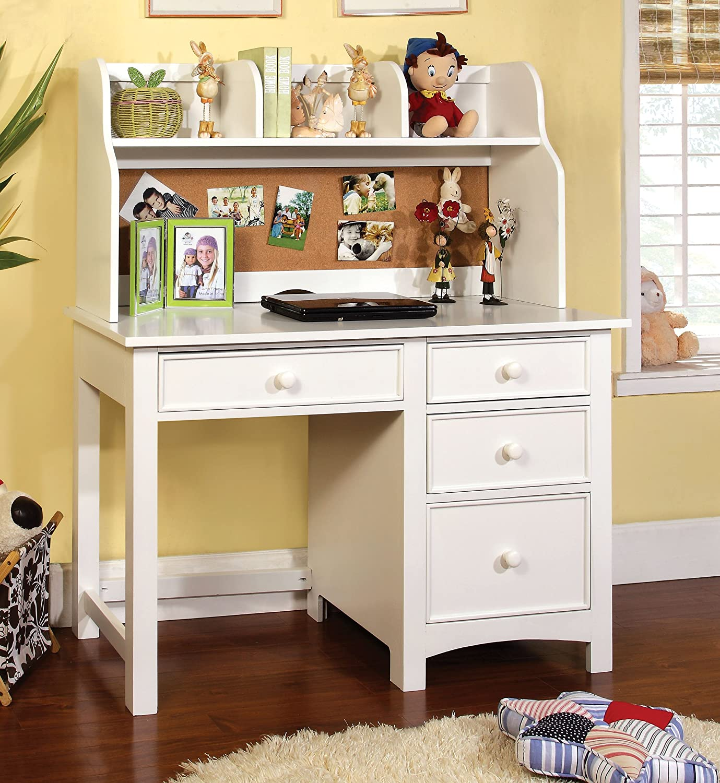 amazoncom furniture of america alaia white 2piece desk and hutch set kitchen u0026 dining