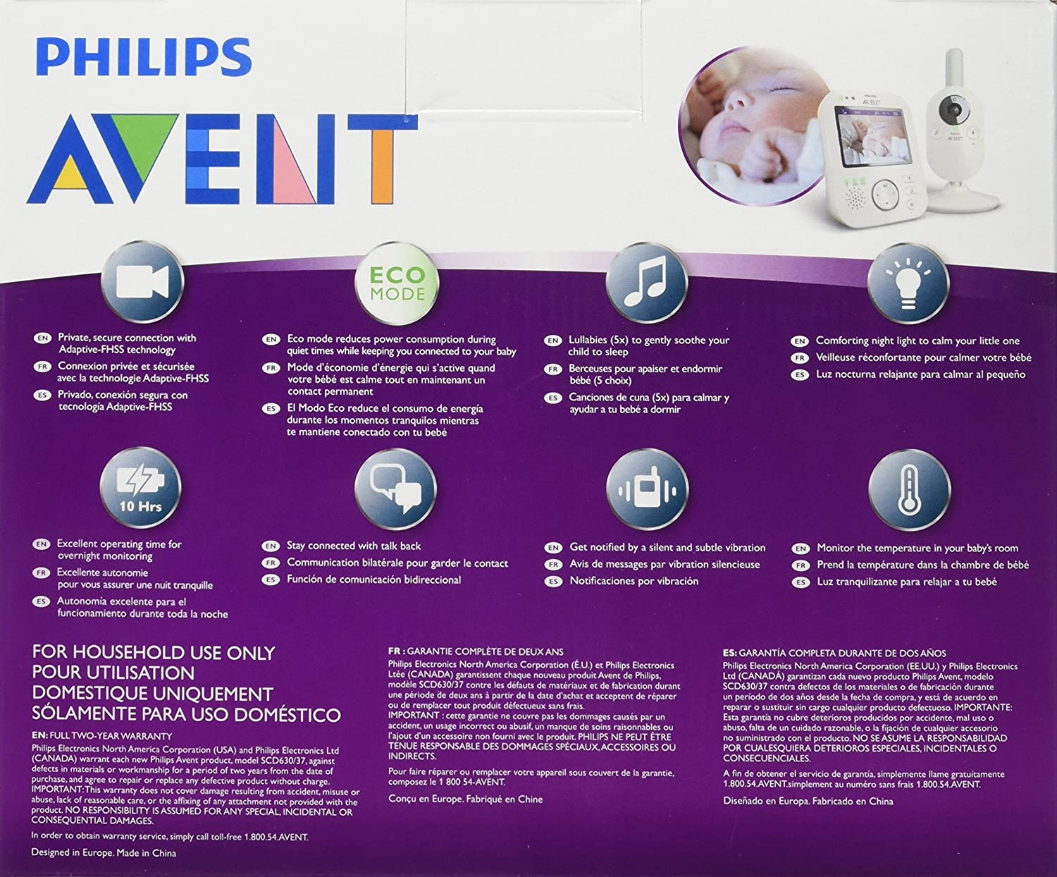 amazoncom philips avent scd63037 video baby monitor with fhss baby