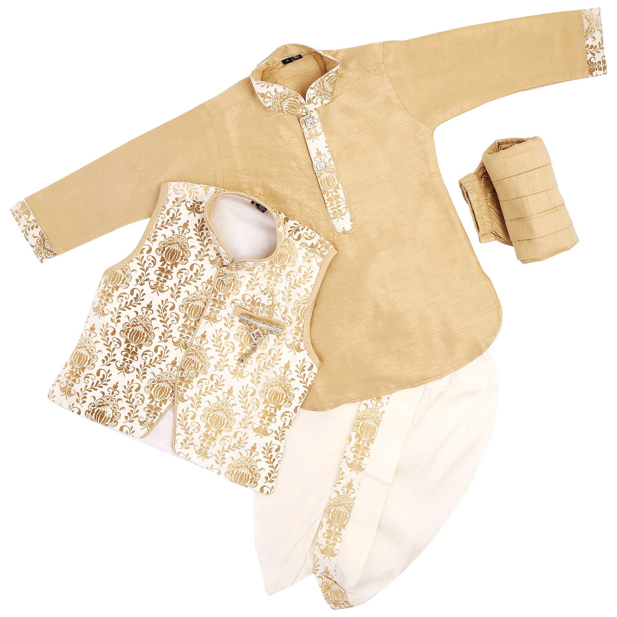 Kids Wedding Ethnic Wear Kurta Jacket Semi Formal Polo Pant for Baby Boys