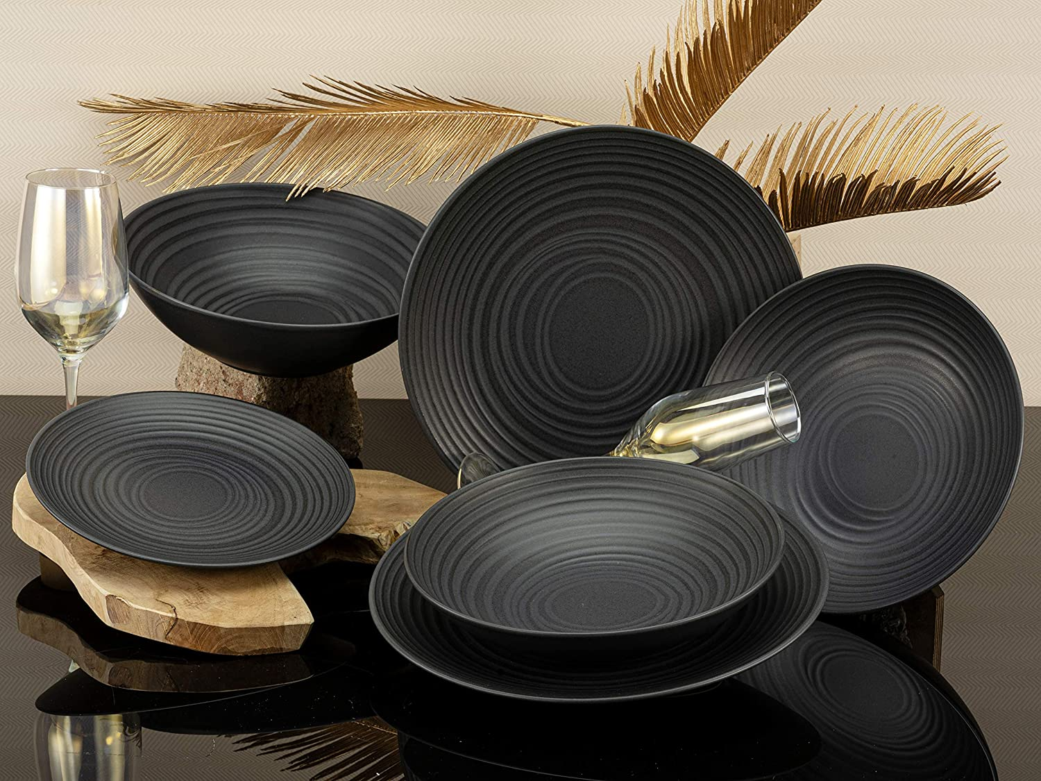 ELEMENTS Collection LAVA STONE series CreaTable 23205 Stoneware dinner service 12 pieces