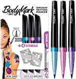 BodyMark by BIC Temporary Tattoo Markers and Stencils, New School Kit - Assorted Colours, Pack of 3+2 (MTBP31NS-AST)