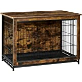 FEANDREA Wooden Dog Crate, Indoor Pet Crate End Table, Dog Furniture with Removable Tray, Rustic Brown and Black
