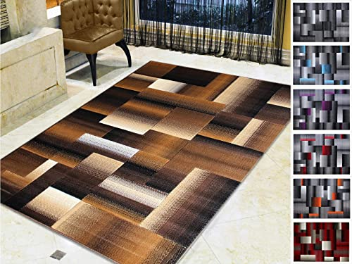 Handcraft Rugs Chocolate Brown Beige Gold Abstract Geometric Modern Squares Pattern Area Rug 8 ft. by 10 ft.