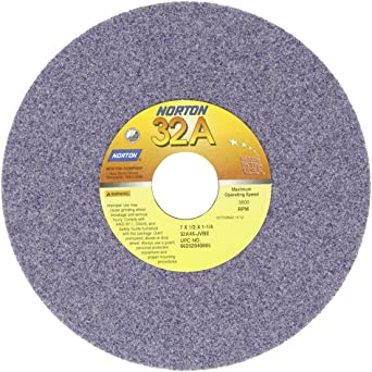 Pack of 10 7 Diameter 1-1//4 Arbor 120-L Grit Norton 32A Vitrified Abrasive Wheel Type 01 Straight Aluminum Oxide 1//2 Thickness