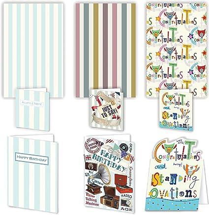 Lujo parachoques Pack de tarjetas y regalos para hombres – 3 hojas con tarjeta de cumpleaños y a juego Mini tarjeta etiquetas de regalo: Amazon.es: Oficina y papelería