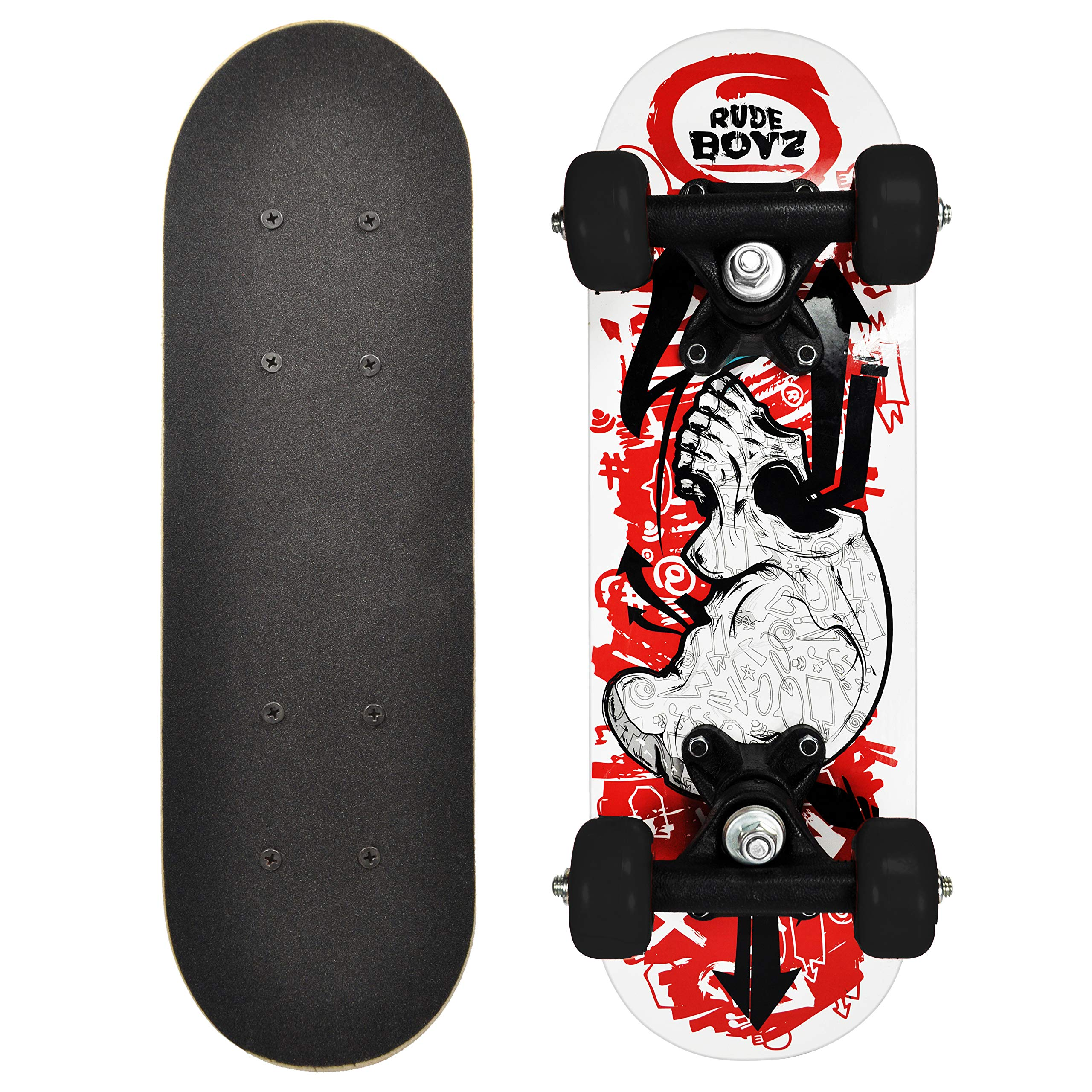 RudeBoyz 17 Inch Mini Wooden Cruiser Graphic Beginner Skateboard (Skull Design) by RudeBoyz