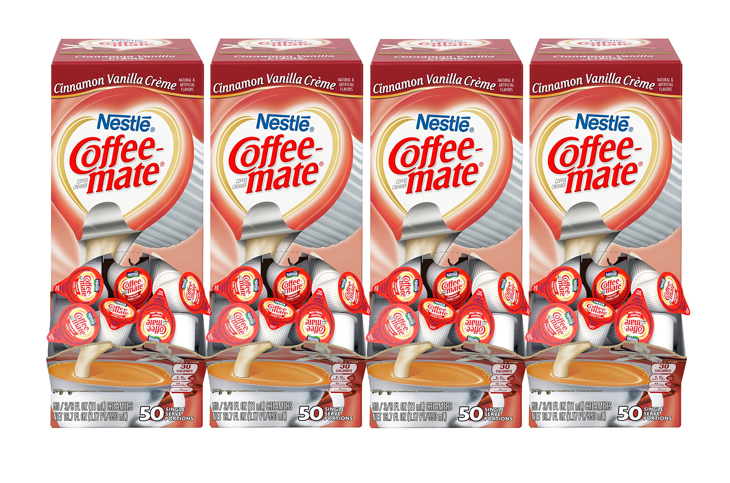 NESTLE COFFEE-MATE Coffee Creamer, Cinnamon Vanilla Creme, 0.375oz liquid creamer singles, 50 Per Box (Case of 4 Boxes)