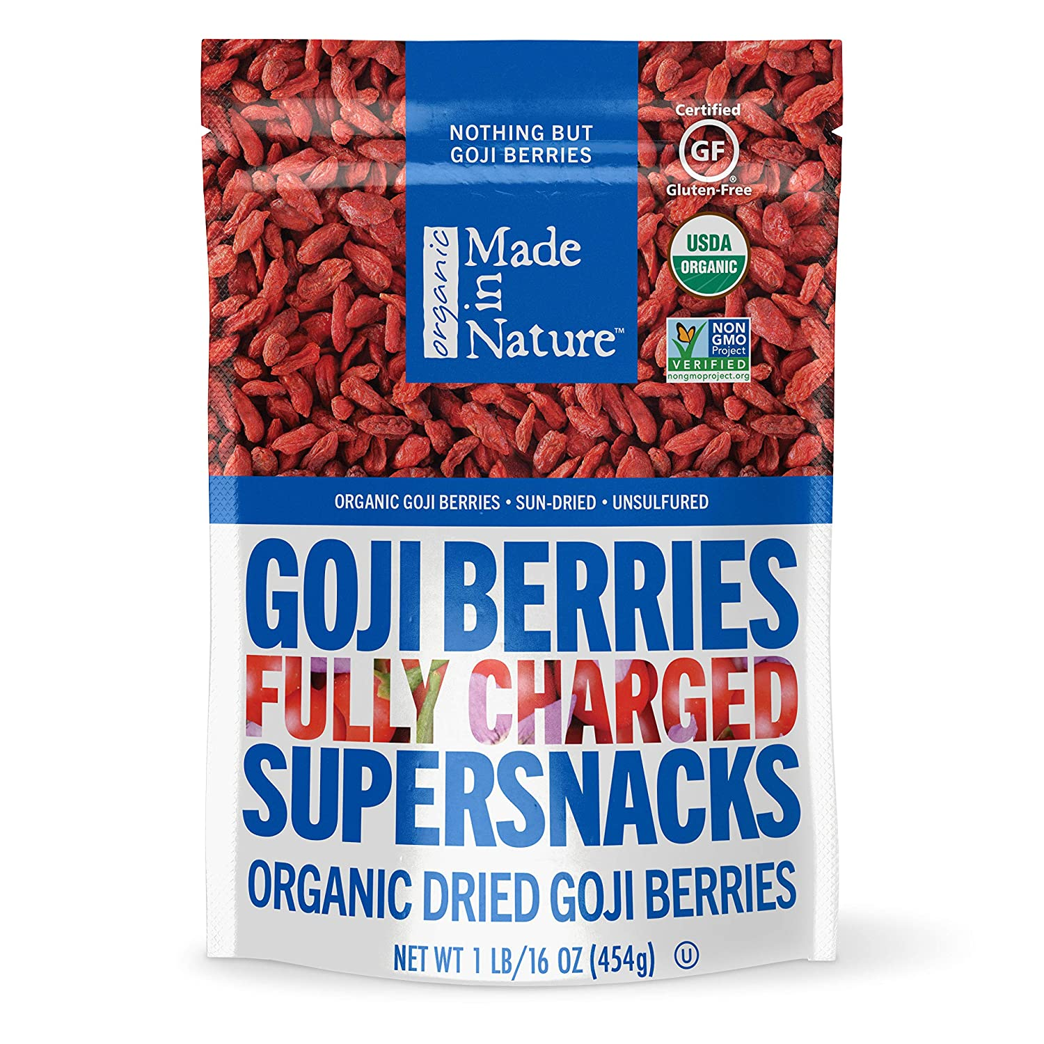 Made In Nature Premium Goji Berries 16oz Organic Non Gmo