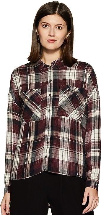 Only Camisa Cuadros Mujer Ester - 42, Negro: Amazon.es: Ropa ...