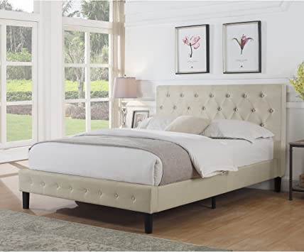 Amazon Com Rosevera Diamond Upholstered Platform Bed Queen Beige Kitchen Dining