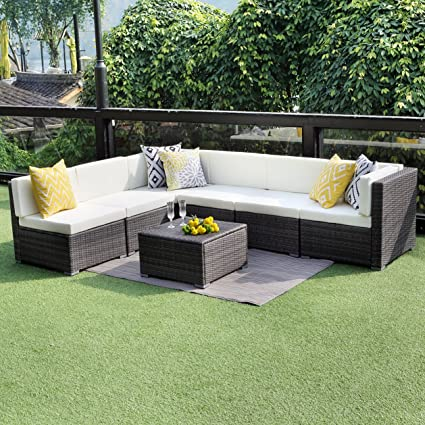 Wisteria Lane Outdoor Conversation Set Patio Furniture, 7PCS Outdoor Gray  Wicker Sofa Set Sectional Furniture