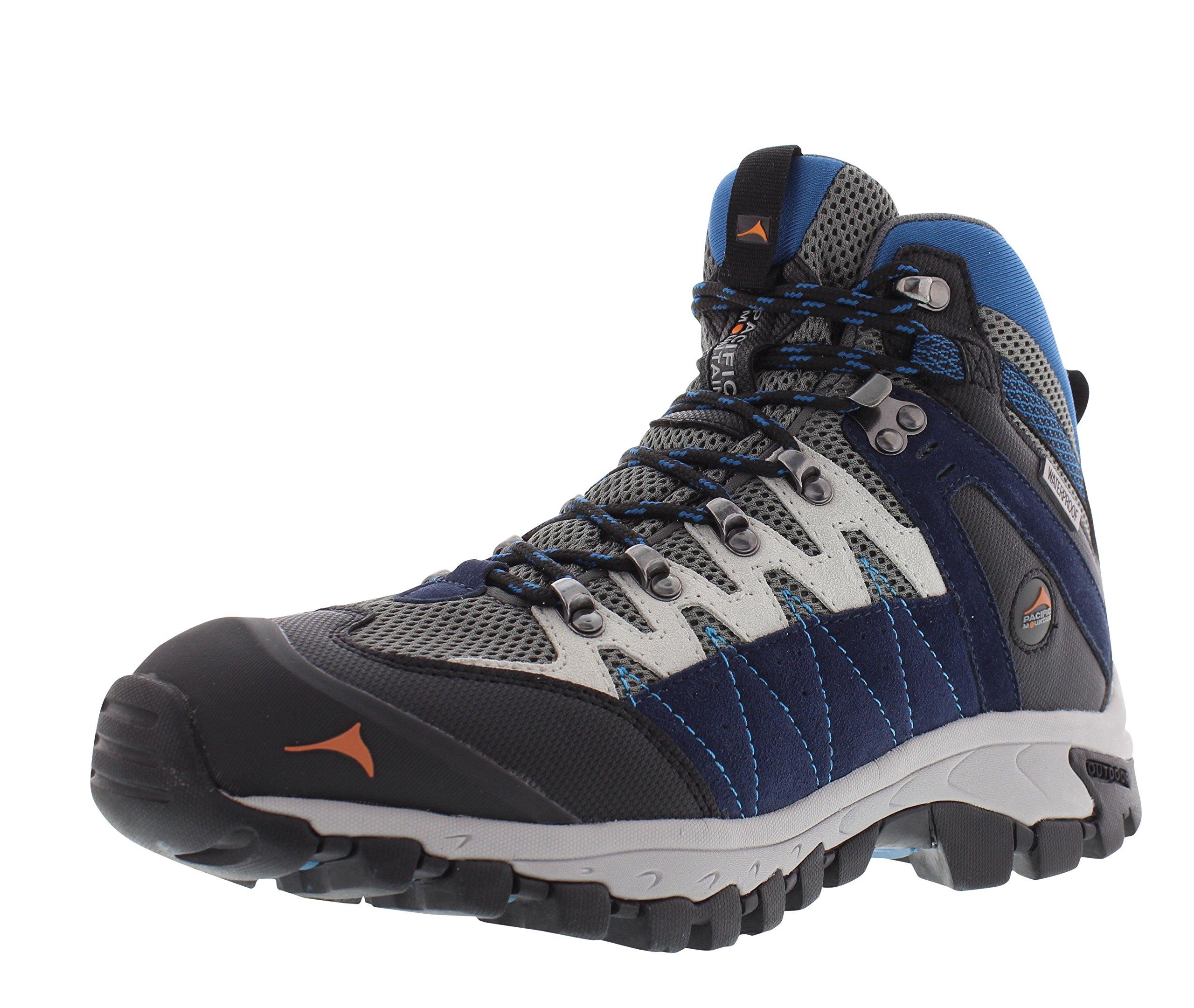 Pacific Mountain Descend Men's Waterproof Hiking Backpacking Mid-Cut Navy/Black/Blue Boots Size 13 by Pacific Mountain