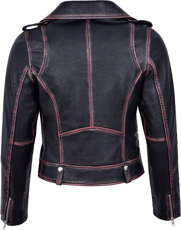 Smart Range Womens Arrival Leather Jacket Black Rub Off Wax Biker Style 4569