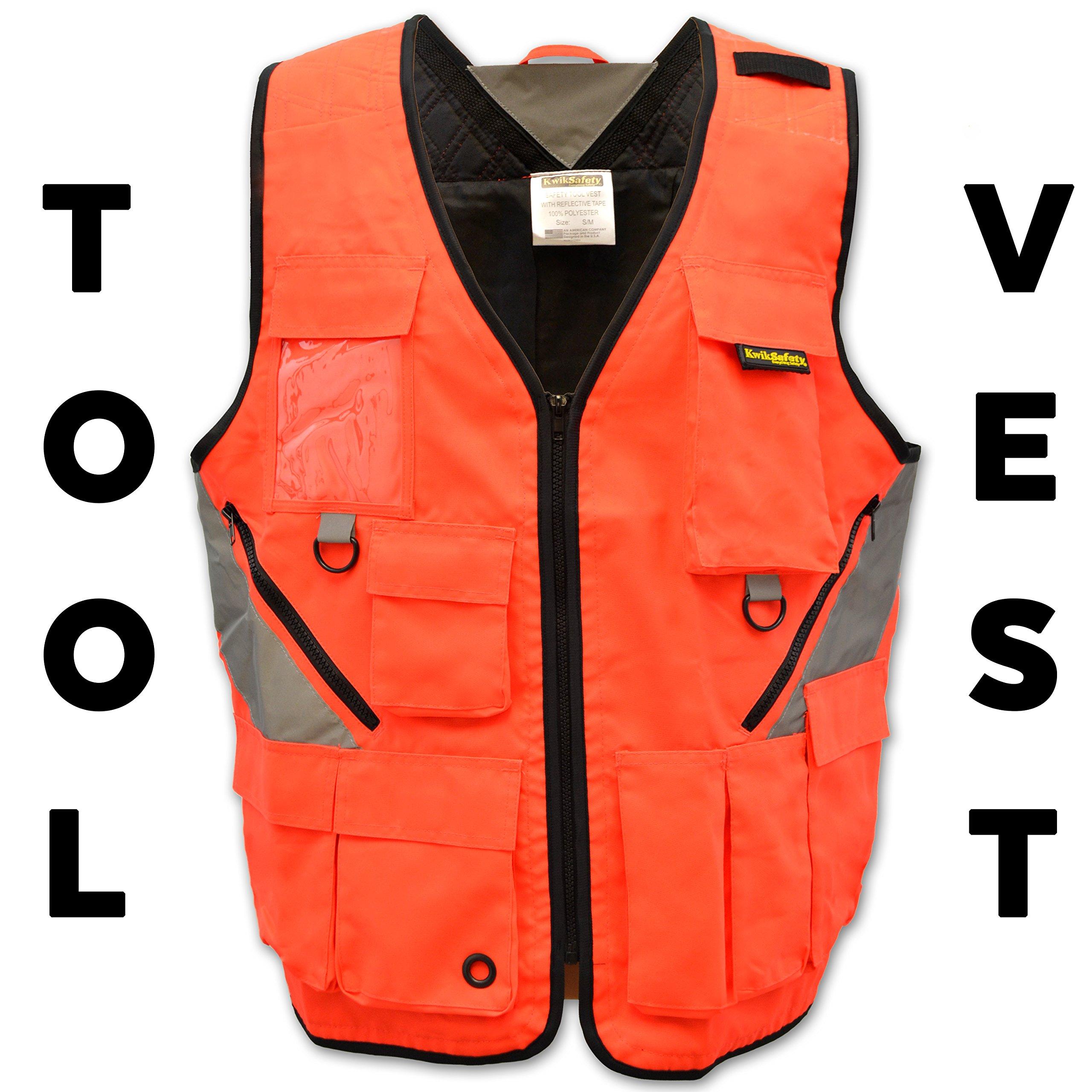 KwikSafety (Charlotte, NC) ARTISAN Tool Vest | Reflective Multi Pocket Lightweight Work Wear | Hi Vis Volunteer Emergency Crew Surveyor Carpenter Electrician Engineer | Men Women Regular | 4XL/5XL by KwikSafety (Image #2)