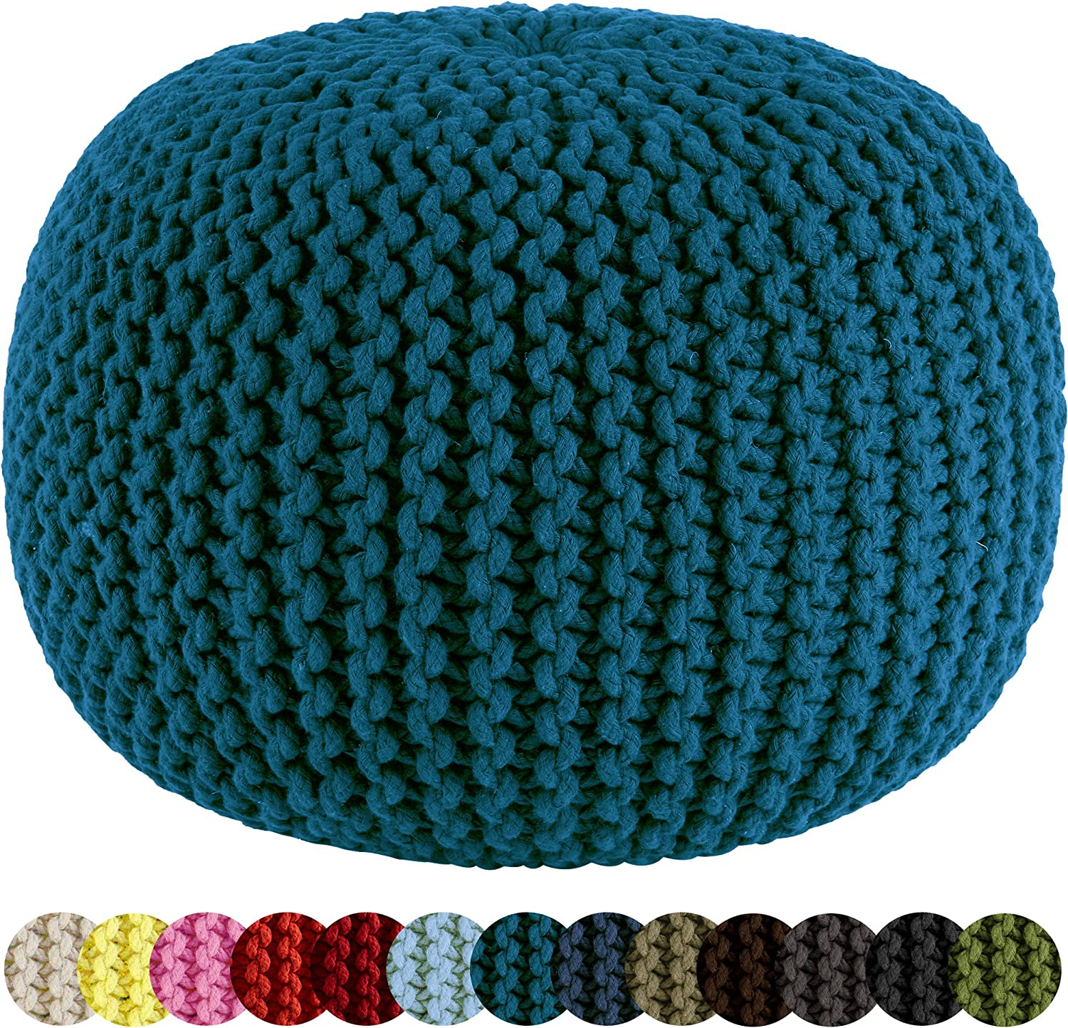 Floor Ottoman Cotton Craft Hand Knitted Cable Style Dori Pouf Truly one of a kind seating Handmade /& Hand stitched 100/% Cotton Braid Cord 20 Dia x 14 High Pink