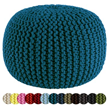 Cotton Craft - Hand Knitted Cable Style Dori Pouf - Teal - Floor Ottoman - 100% Cotton Braid Cord - Handmade & Hand stitched - Truly one of a kind seating - 20 Dia x 14 High