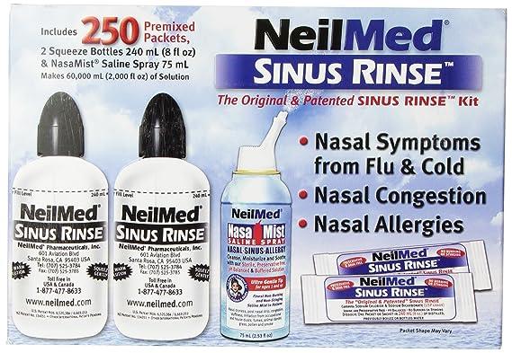 NeilMed Sinus Rinse - 2 squeeze Bottles 240mL (8fl oz) & Nasamist Saline Spray 75mL - 250 Premixed Packets - BONUS Nasa Mist Saline Spray - Value Pack: ...