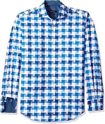 Bugatchi Mens Long Sleeve Spread Collar Fitted Sport Shirt