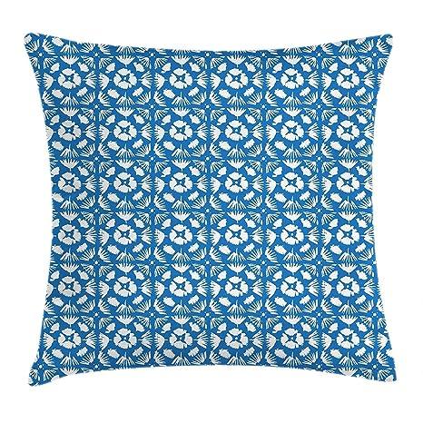 Funda de cojín de cojín azul y blanco, patrón dibujado a ...