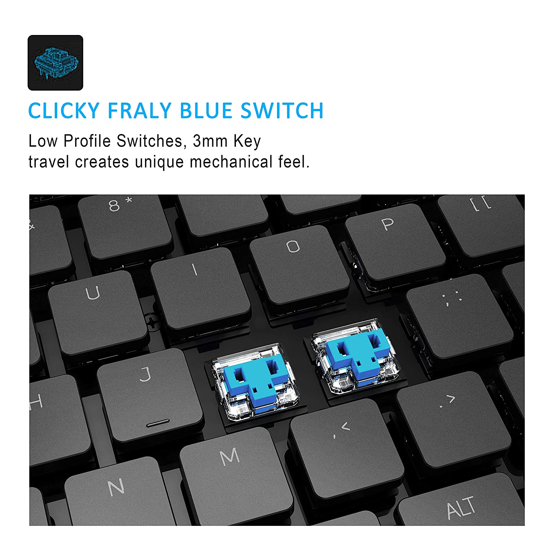 Windows Layout Interruptores azules de bajo perfil Wireless Gaming Teclado RGB LED Retroiluminada Tecla Extra-delgada y ligera 104 teclas para MAC anidees Prismatic Gaming