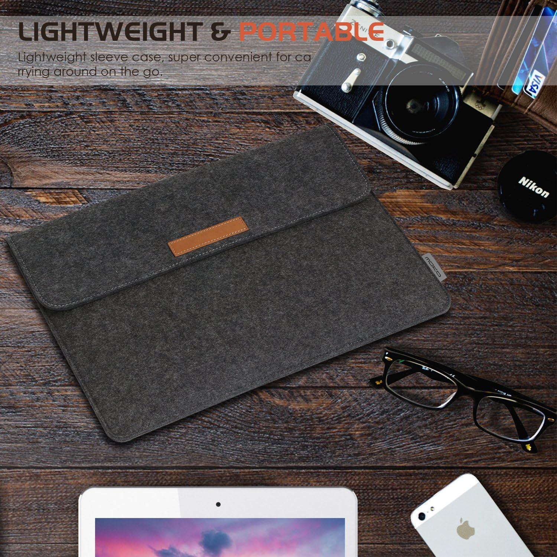Deux Poches /à larri/ère et Flanelle /à lint/érieur Nouveau MacBook 2015//10-11 Pouces Tablette avec Petit Sac en Feutre MoKo Pochette en Feutre Compatible avec Surface 3 2015 Gris fonc/é