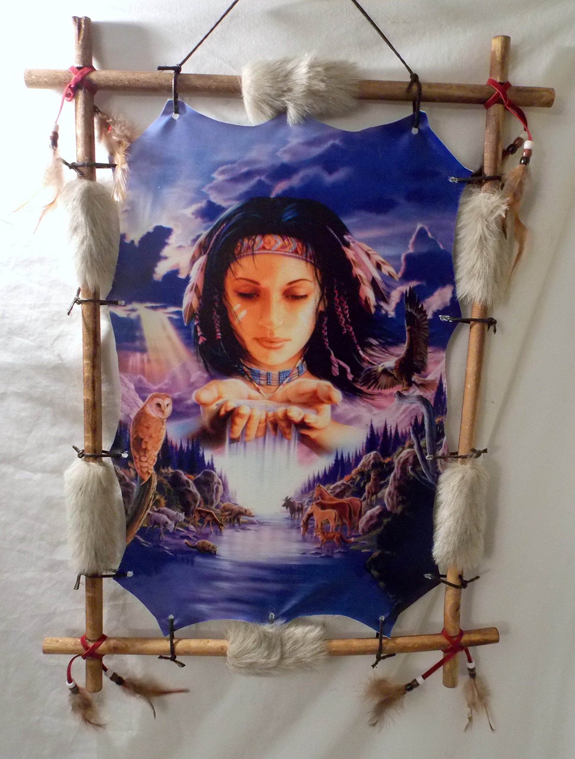 New Indian Girl with Bears, Deers and an Owl in a Picturesque Mountain Background Wood Frame Dream Catcher 22'' x 16''