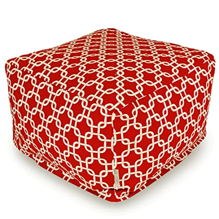 Majestic Home Goods Red Links Indoor Outdoor Ottoman, Large