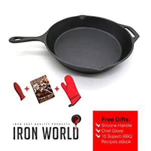 Iron World Cast Iron Skillet Pan - 12 Inch Pre Seasoned Round Frying Pan With Silicone Handle Holder for Grill Stove And Oven. Great for Meat Fish Chicken Steak Frittata Tortilla Egg and Crepe