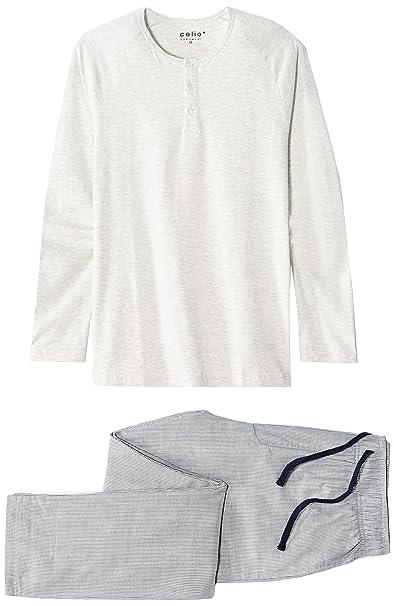 Celio Jipyjraie, Conjuntos de Pijama para Hombre, Gris (Grey), Medium