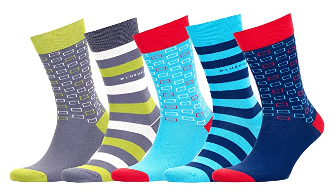 2ebdfda23e1c3 Bluehill Men's 5 Pack Luxury Colorful Casual Healthy Cotton Seamless Toe  Socks with Gift Box -