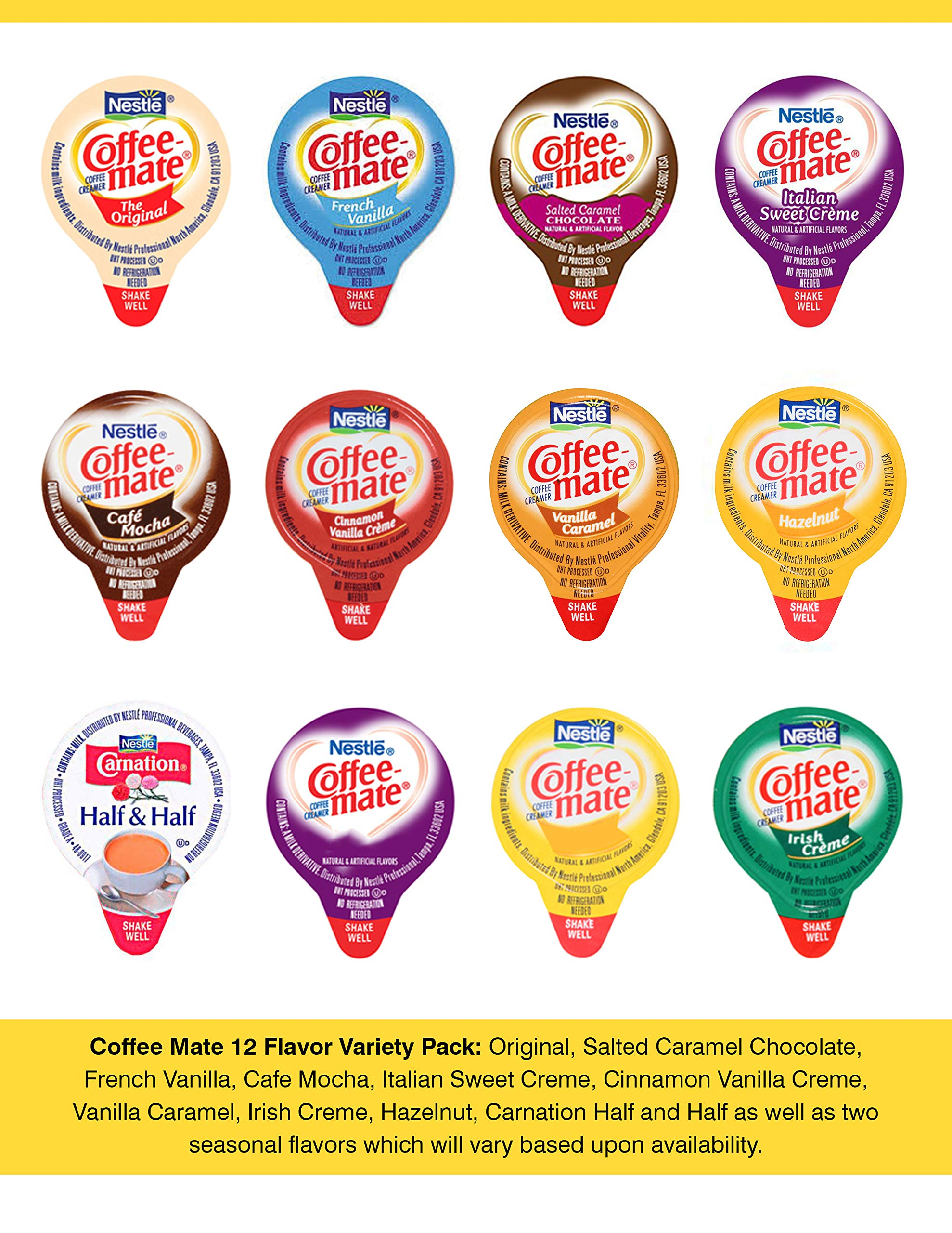Coffee-Mate Mini Coffee Creamers - 12 Flavor Assortment (36 Count with varied amounts of each flavor)