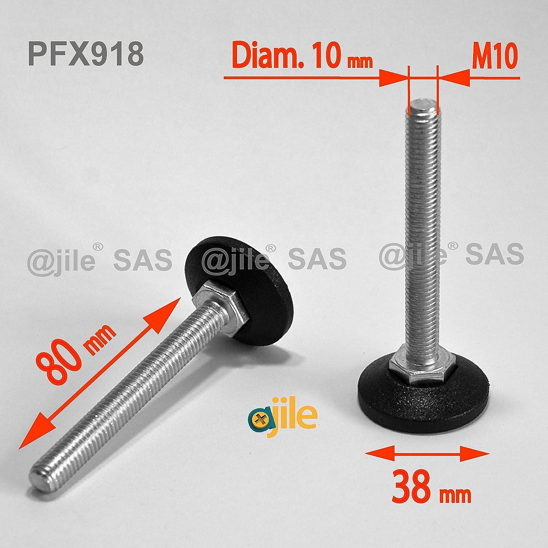 largo 80 mm M10 1 pieza acero galvanizado ajile Rosca diametro 10 mm Pie nivelador ajustable con base redonda