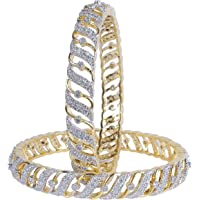 MUCH MORE Brass Made Diamond Look Cubic Zircons Made Bangles Women and Girls