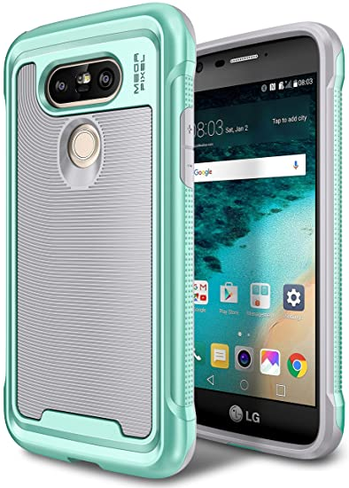 best service 734ae 9f44c LG G5 Case, E LV LG G5 - Hybrid [Scratch/Dust Proof] Armor Defender Slim  Shock-Absorption Bumper Case for LG G5 -[GREY/MINT]