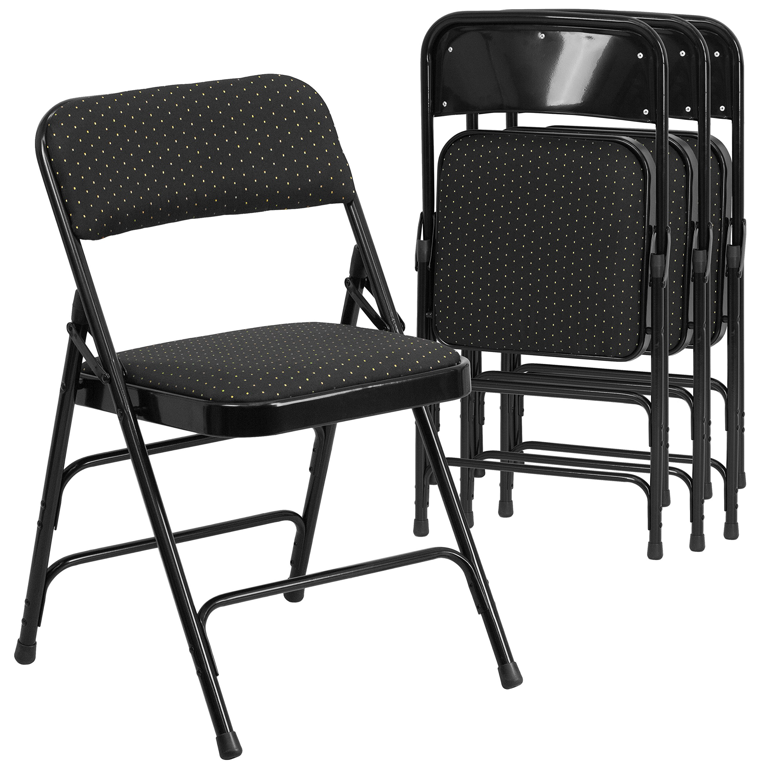 Flash Furniture 4 Pk. HERCULES Series Curved Triple Braced & Double Hinged Black Patterned Fabric Metal Folding Chair by Flash Furniture