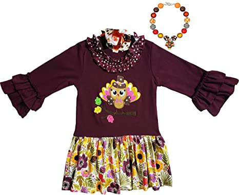 c707947b Fall Boutique Clothing Girls Thanksgiving Pilgrim Turkey Vintage Floral  Dress with Necklace Bow 2T