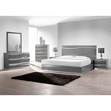 Amazon.com: Best Master Furniture Gray Lacquer 5 Pieces ...