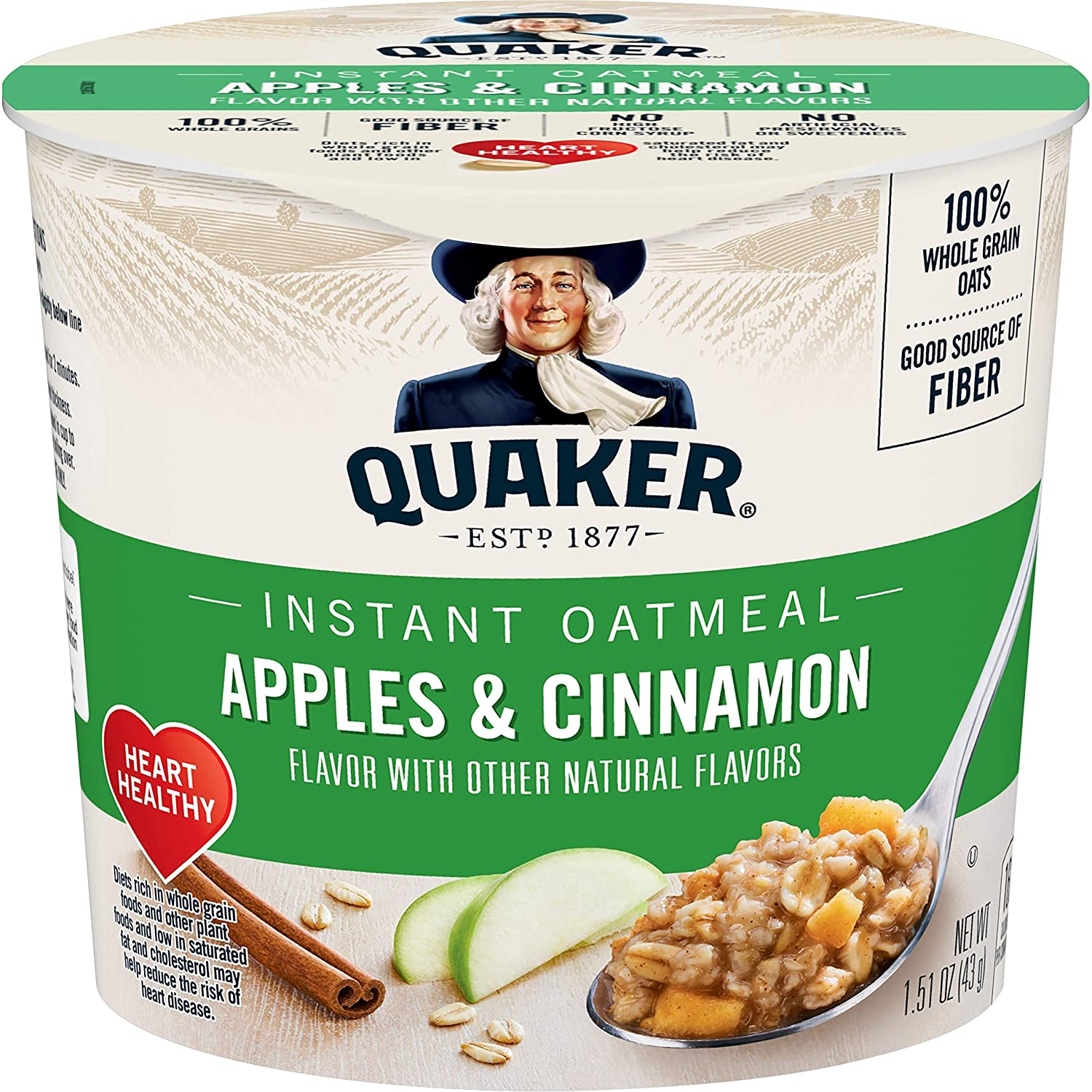 Quaker Instant Oatmeal Express Cups, Apples & Cinnamon, 12 Count