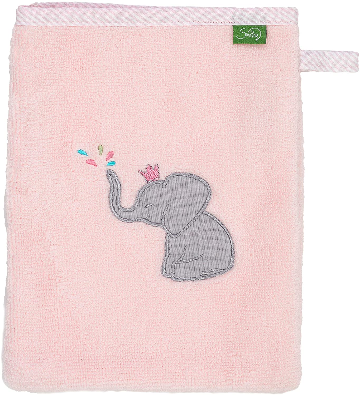 saugstarker und weicher /Öko-Tex-100 zertifizierter Waschhandschuh f/ür Kinder in rosa mit Elefant Smithy Waschlappen aus 100/% Baumwolle
